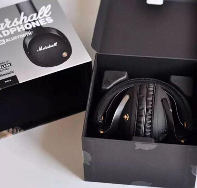 Marshall Monitor Auriculares Plegables con MIC Piel Cancelación de Ruido Auriculares Estéreo de Graves Profundos Monitor DJ Hi-Fi Auriculares Teléfono Auriculares