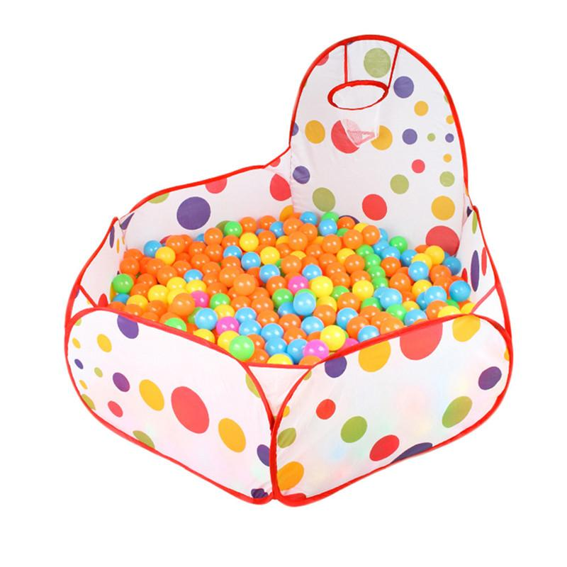 Kids Play Tent Ball Pit Pool with Basketball Hoop Red Zippered Zippered Storage Bag for Toddlers Baby Pets Playpen NO BALLs