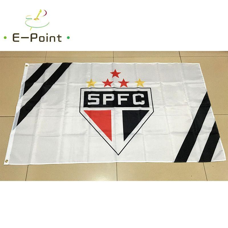 Brasilianischer Sportverein Sao Paulo FC 3 * 5ft 90cm * 150cm Polyester-Flagge Fahnendekoration, die Hausgartenflagge fliegt Festliche Geschenke