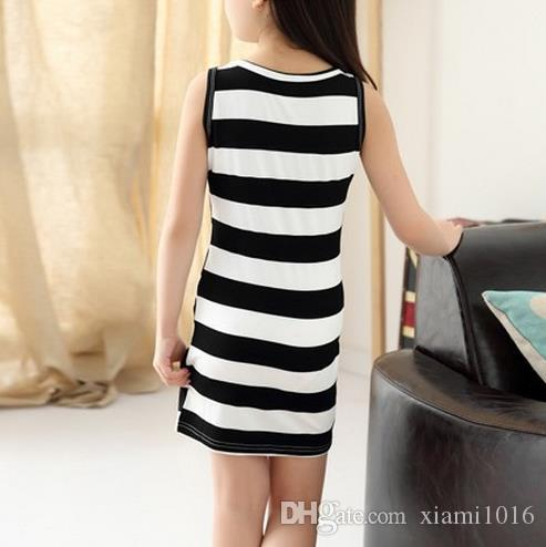 2017 Comfortable Baby Girls Package Hip Dress Cotton Black and White Stripe Summer Sleeveless Children Clothes Daughter Skirt
