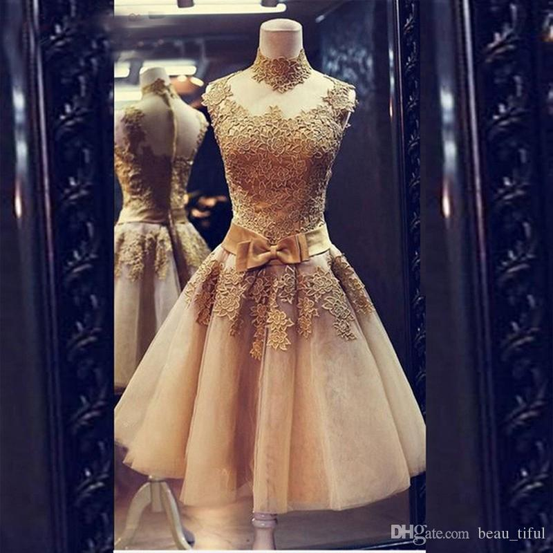 Champagne Prom Dresses Cocktail 2017 Vestidos Curtos De Festa Cheap Short Graduation Evening Dress for Juniors