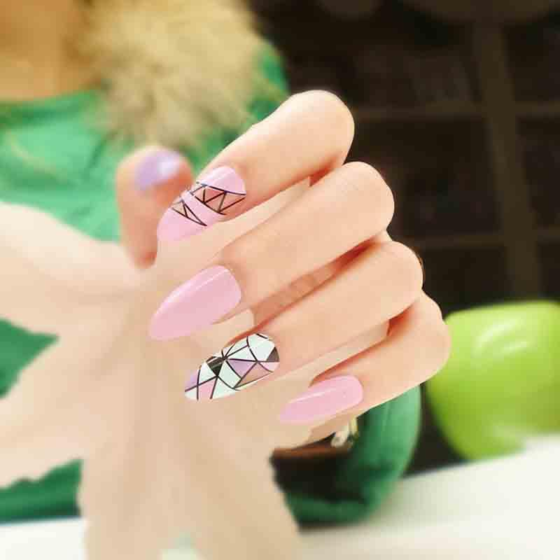 Wholesale- Long Stiletto False Nails Retro 24 Faux Ongles Artificial ...