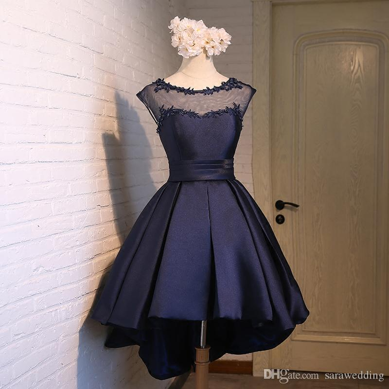 395 Satin High Low Bridesmaid Dresses With Appliques 2017 Scoop Neck Wedding Party Gowns Lace Up Red Navy Blue