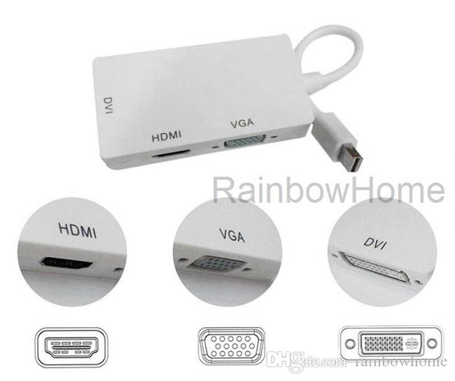 Mini DP Displayport Thunderbolt Adaptateur HDMI DVI VGA TV femelle câble 3 en 1 pour MacBook Air Pro PC Adaptateur projecteur Switch