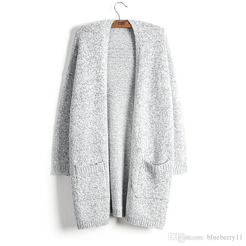 Kadınlar Için kış Hırka Rahat Moda Katı Kadınlar Sıcak Örme Hırka O Boyun Uzun Kollu Uzun Kazak Dış Giyim