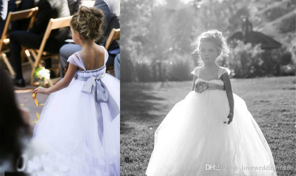 2017 White Tulle Flower Girls' Dresses Tutu Ball Gowns Baby Toddler Children's First Communion Dress 0-12 Years Old