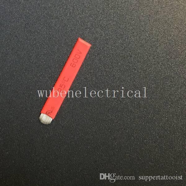 100 шт. 14 контактов U-образный перманентный макияж бровей Microblading ручной ручка татуировки лезвия Красный 0.2 мм бровей татуировки Microblade иглы