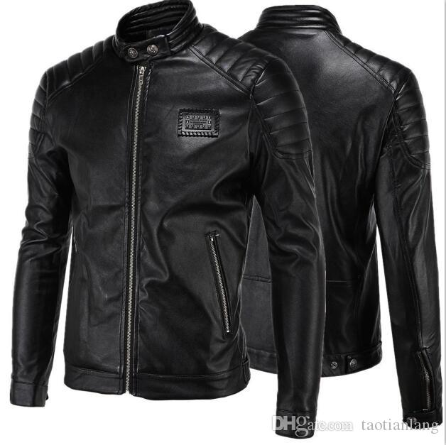 Short Black 5XL Jacket For Mens PU Leather Slim Mens Jacket Coats Stand Collar Autumn Wild Motorcycle Long Sleeve Overcoat Men J160814