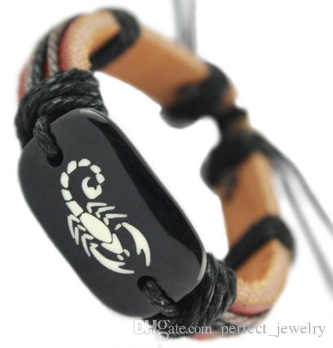 Скорпион натуральная кожа браслет регулируемый черный коричневый Оптовая много Моды цепи горячие мужчины женщины ручной браслет унисекс браслет DJ023