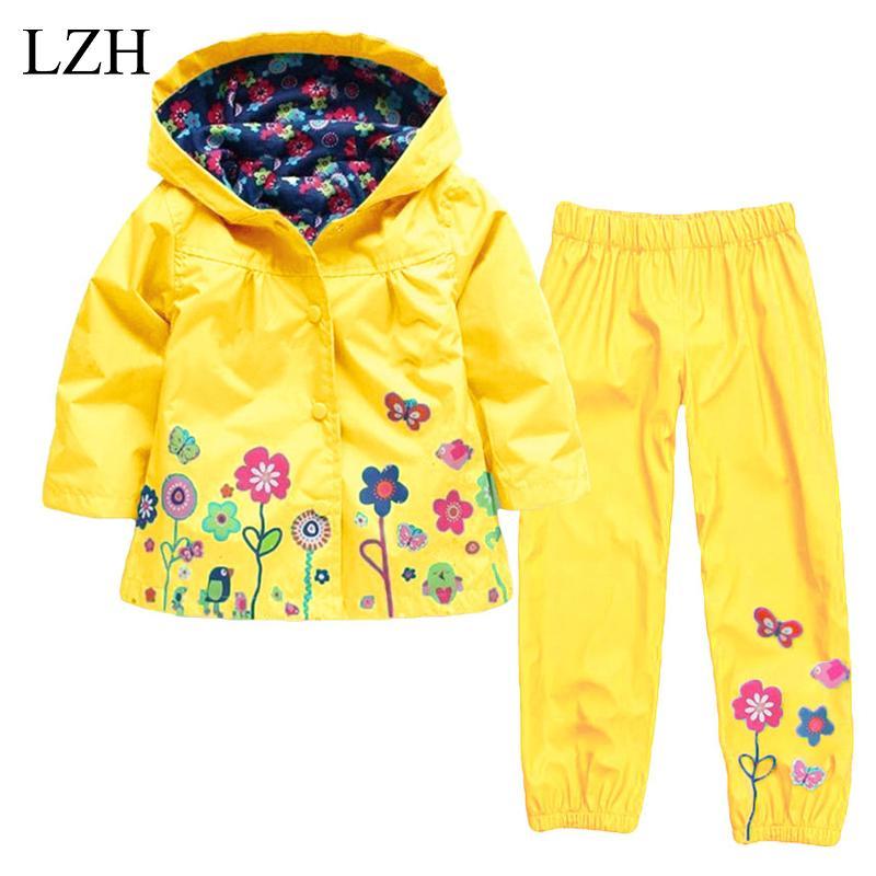 fc173a2c1c79 2019 Wholesale LZH Girls Boys Clothes Kids Raincoats Set Hooded ...