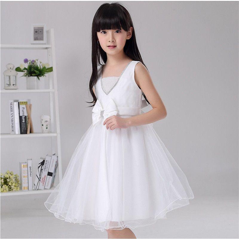 2017 New Arrival Flower Girl Dresses Princess A-Line Bow Party Pageant Communion Dress for Wedding Little Girls Kids/Children Dress
