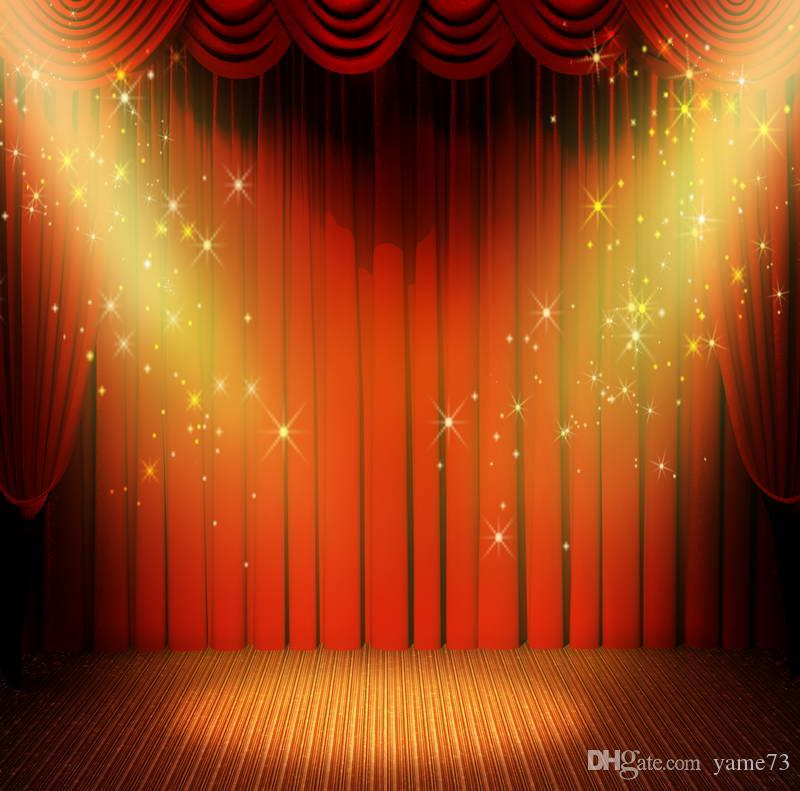 2018 5x7ft Vinyl Digital Red Curtain Gold Start Spotlight Stage Photography  Studio Backdrop Background From Yame73, $17.97 | Dhgate.Com
