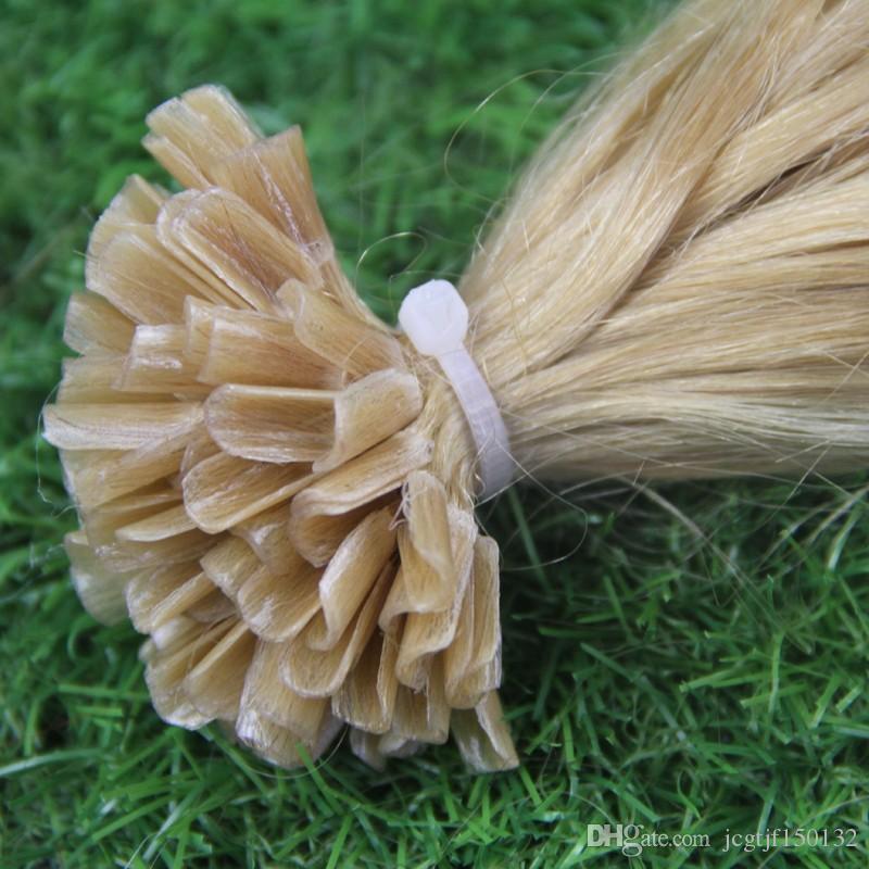 퓨전 U 팁 네일 인간 머리카락 확장 화려한 머리카락 100g / strands # 613 백금 금발 스트레이트 캡슐 케라틴