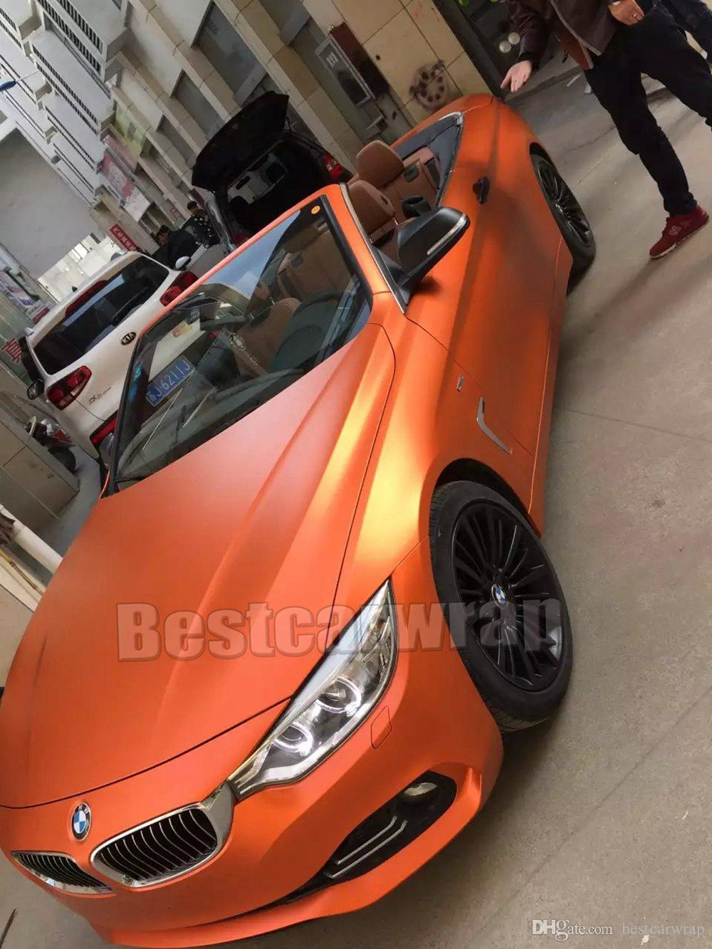 Car Wrap Cost >> 2018 High Quality Orange Satin Chrome Vinyl Wrap Car Wrap With Air Release Car Stickers Film ...