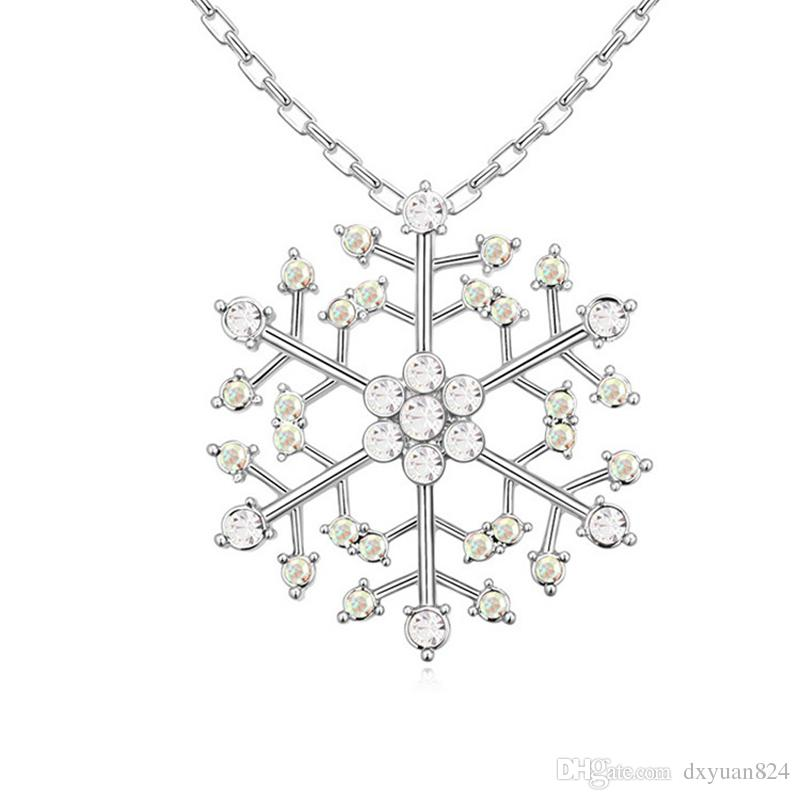 d6e62eac99 Wholesale Snowflake Pendant Necklaces Frozen Snow Lucky Charm Jewelry With Swarovski  Crystal Valentine Christmas Gift For Lover Cat Pendant Necklace Silver ...