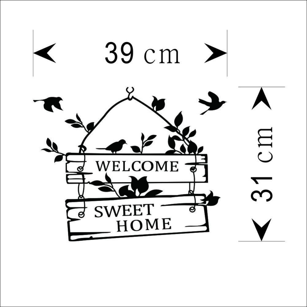 Добро пожаловать Сладкие Котировки Стены Стикеры Главная Двери Гостиной Виниловые Наклейки На Стены 8253 Декоративные Росписи Искусства Diy Обои