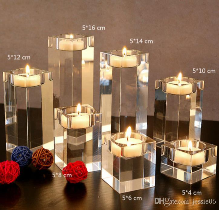 Square Clear Crystal Candle Holder Candlesticks Acrylic Tea Light Candle Holders Wedding Christmas Party DIY Decoration favors