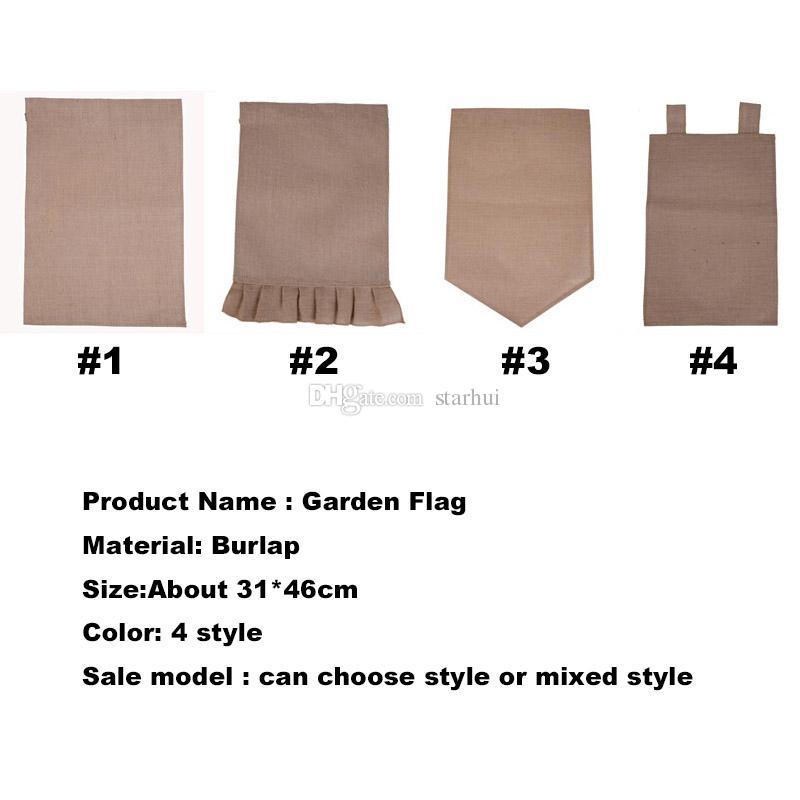 Çuval bezi Bahçe Bayrağı DIY Jüt Ruffles Keten Yard Asılı Bayrak Ev Dekorasyon Taşınabilir Afiş Bahçe Süslemeleri 4 tarzı WX9-02