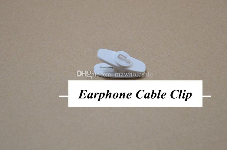 big Headphone Headset Earphones Cell Phone Cable Cord Wire Clip Nip Clamp Holder black white