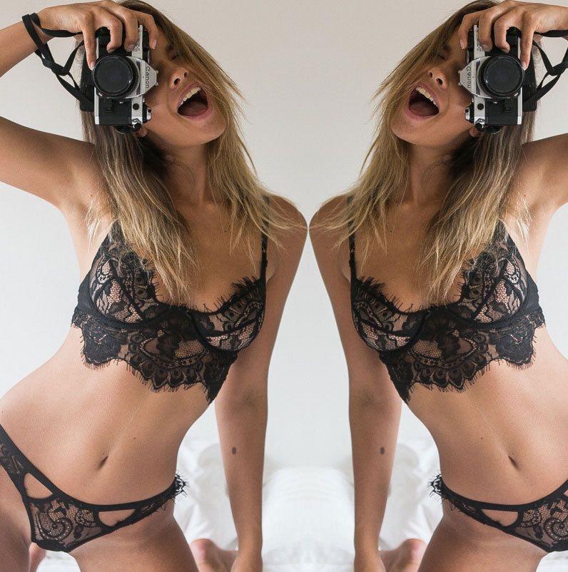 257a613dd83 Women s Sexy Vs Bra Set Lace Underwear Adjustable Thin Cup Lingerie Set  Plus Size Womens Bras and Underwear Sets