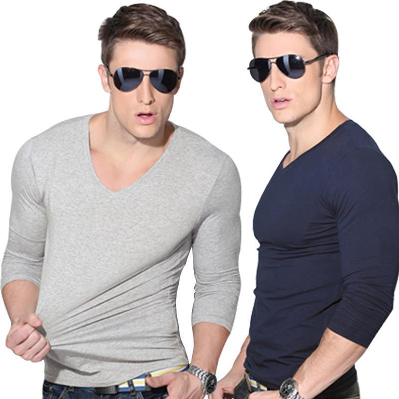 Spring And Summer 'S Young Men' S Sleeved Solid Color Slim V Neck ...