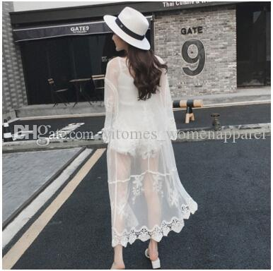 65895f7b99a7 2019 Summer Beach Bikini Cover Ups Women Crochet Floral Lace Embroidery  Long Sleeve Cardigan Hollow Sexy Sunscreen Loose Blouses Swimwear Shirts  From ...