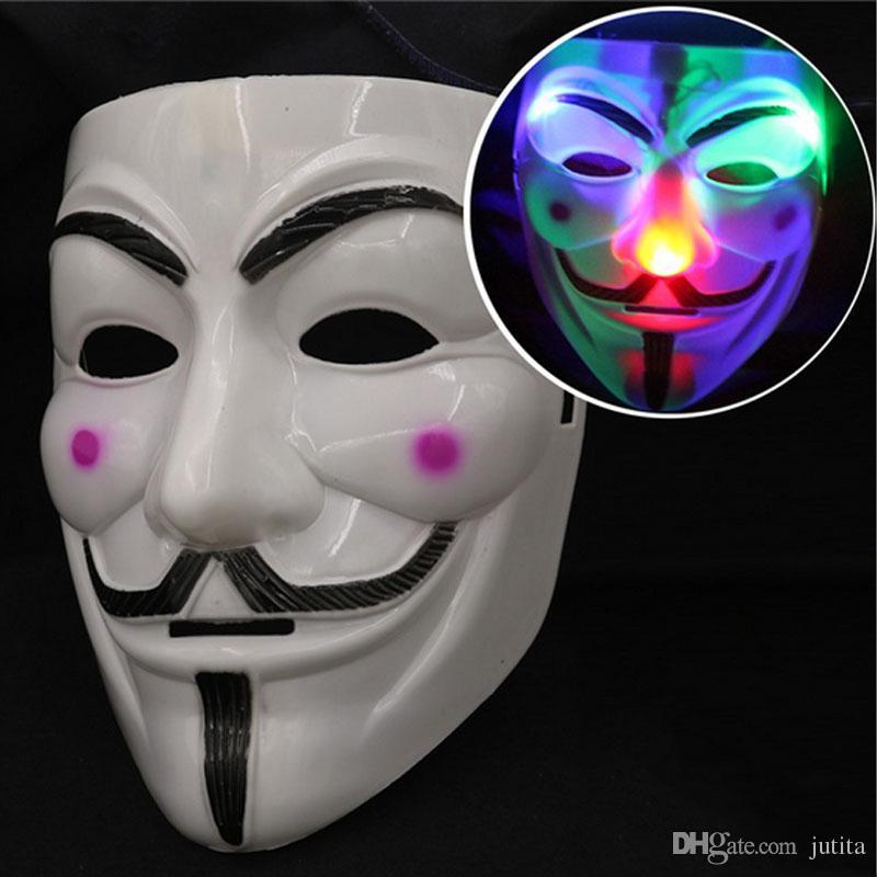 LED мигающий V маска для Вендетта Маскарад партии маски загораются необычные платья фантазии косплей карнавальные костюмы