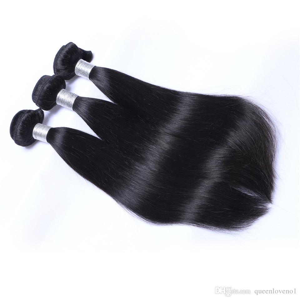 البرازيلي مستقيم الشعر الحياكة 3 حزم مع اختتام الحرة الأوسط 3 الجزء مزدوجة لحمة الشعر الإنسان Dyeable 100G / جهاز كمبيوتر