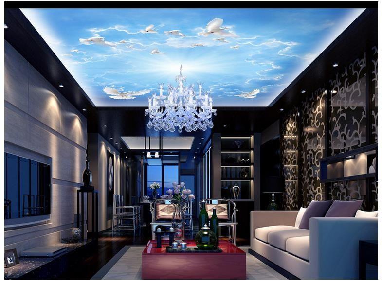 Papel pintado de la foto 3D fondo de pantalla 3D personalizado Bar KTV sueño cielo azul cenit murales del techo papel de pared 3d living room decoración de la pared