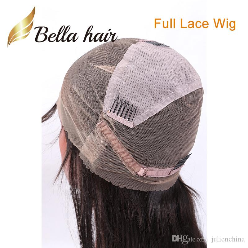 Negro personalizadas pelucas llenas del cordón recto natural del pelo para niños princesa mano ajustable atado peluca recta sedosa Bob Peinado para ángulo