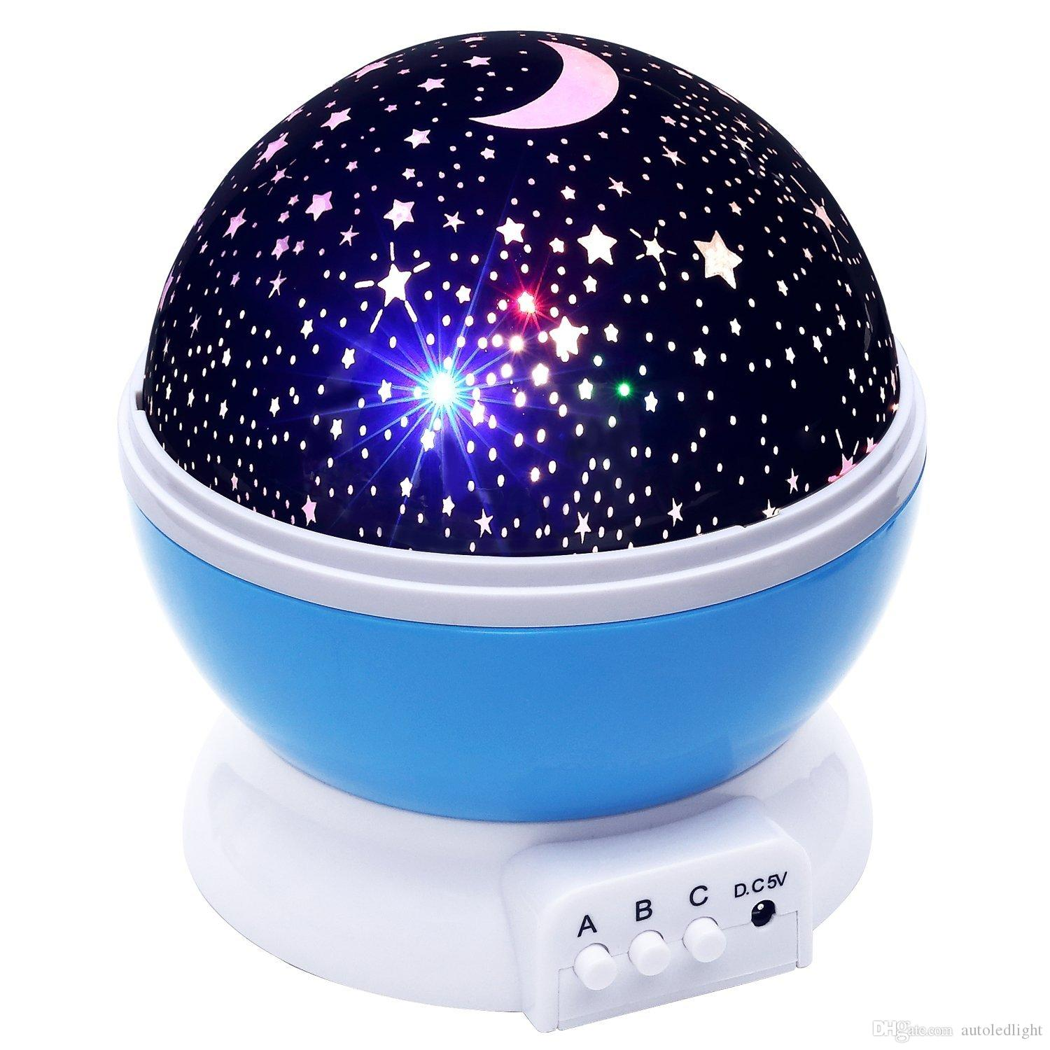 rotating Night Lighting Lamp, starry led Christmas gift for kids, Color Changing Night Lighting Lamp moon Star Projector for Children