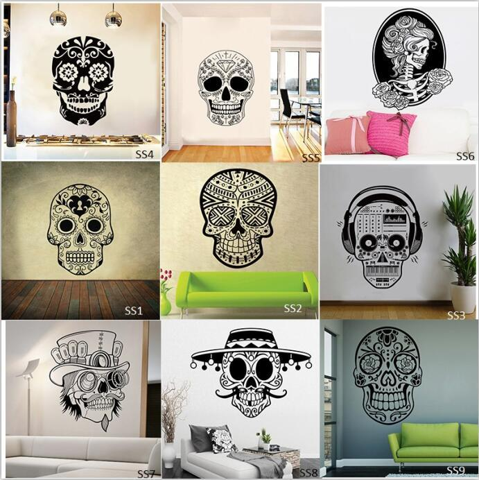 Mexican Sugar Skull Wall Stickers Vinyl Scared Skull Wall Sticker - Wall vinyl stickers