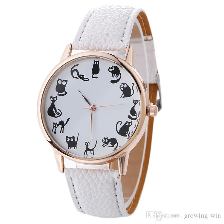 2017 Wholesale Women Black Cat Different Actions Printing Watch ...