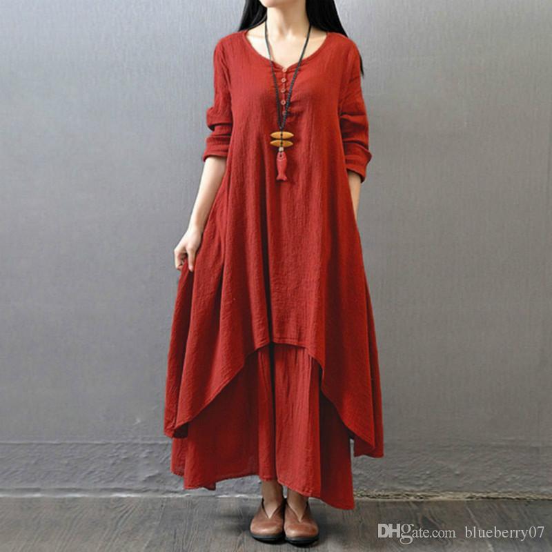 Women Autumn Cotton Linen Boho Solid Long Maxi Dress Casual Loose ...