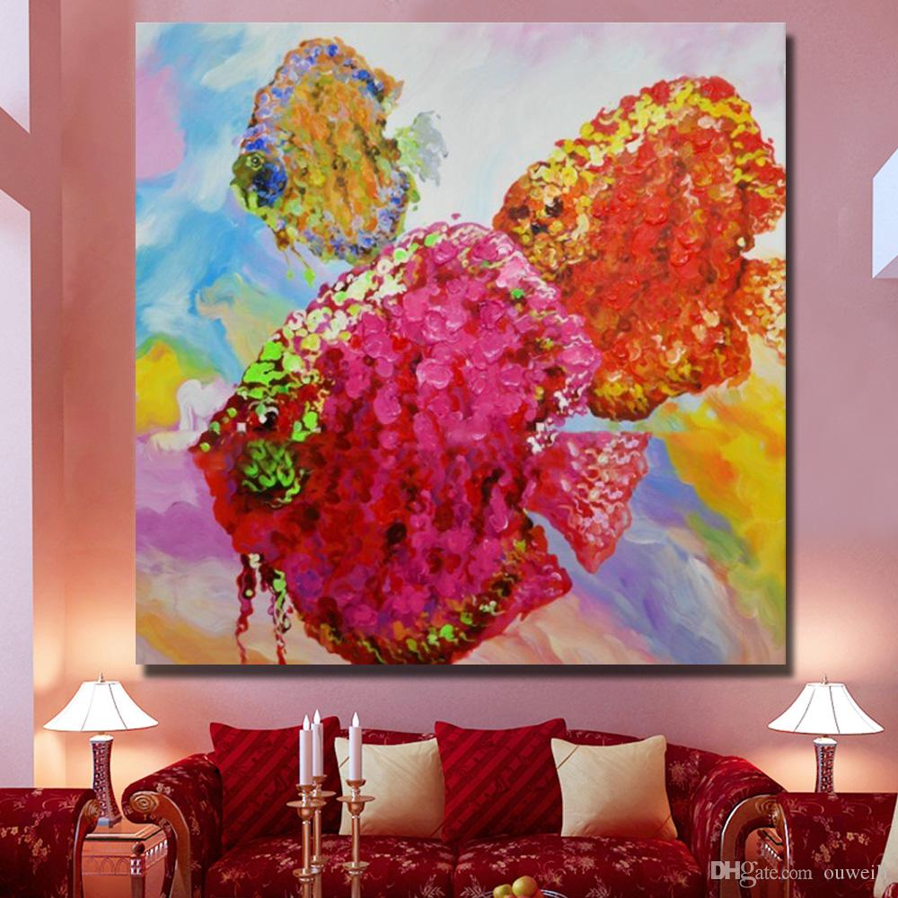 Top quality abstract fish knife animal oil painting hand painted canvas wall pictures for living room