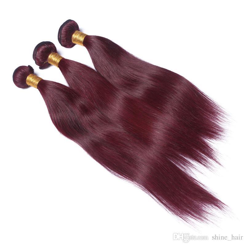 Peruano Virgem Vinho Tinto Cabelo Humano Tece de Seda Reta # 99J Borgonha Remy Feixes de Cabelo Humano 10-30