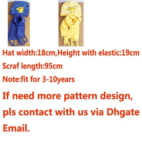 Children Pikachu Knitted Beanie Scrarves Kit Sets Baby Kids Girls Boy Winter Warm Cartoon Soft Crochet Scarf And Caps Hats 3-10T PX-H09