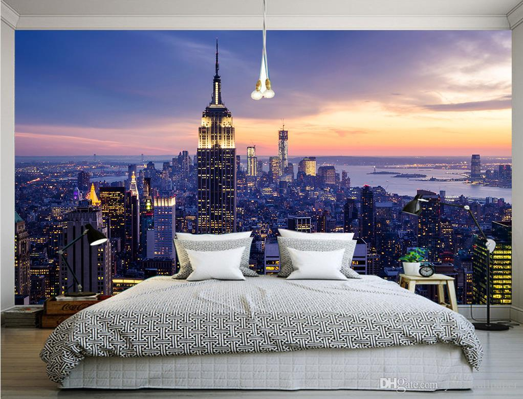 New York City Wall Mural photo custom any size new york dawn landscape wall mural 3d
