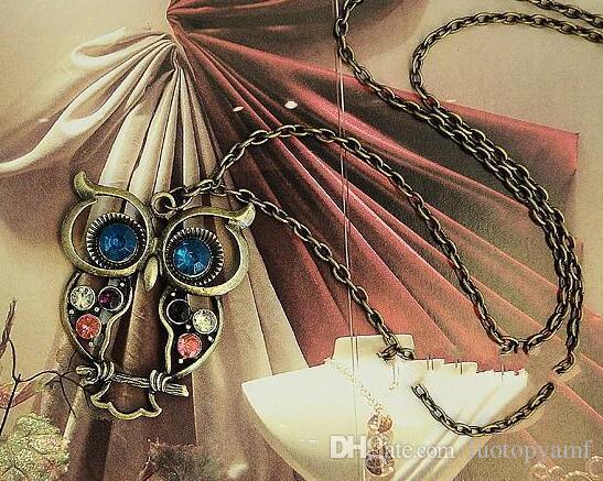 сова ретро ожерелья diamante ожерелья бронзовые старинные серебряные ожерелья из бисера длинные для женщин