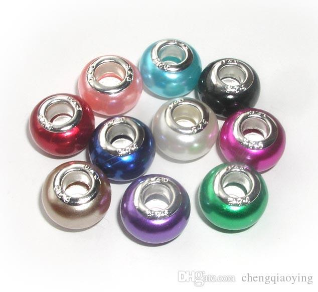 Marka Yeni 100 adet Mix Renkler ABS sahte inci 925 sterlini çekirdek büyük delik gevşek boncuk fit Avrupa pandora takı Diy bilezik charms