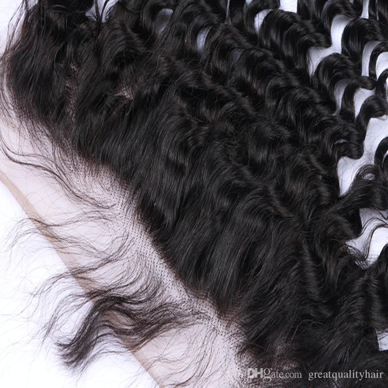 Wholesale Can Be Dyed Natural Color Brazilian Peruvian Indian 13*4 Loose Curly Lace Frontal Human Virgin Remy Unprocessed Hair Extensions