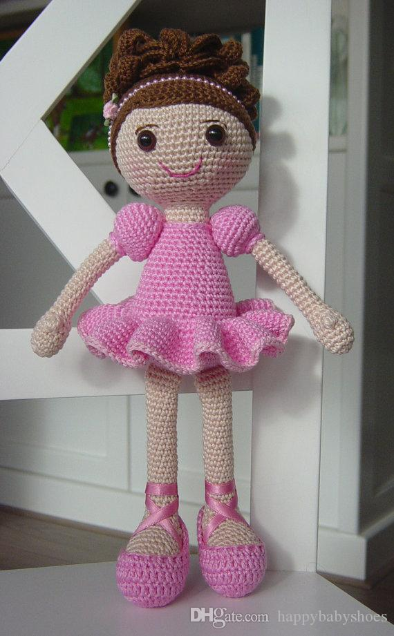 Handmade crochet girls baby beautiful doll rattles gift