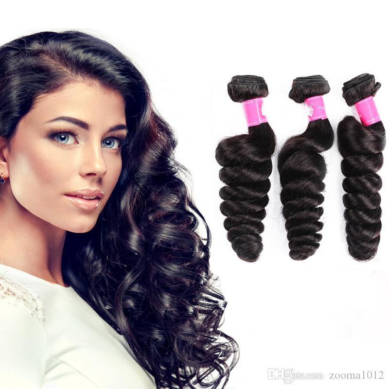 7A Unprocessed Brazilian Virgin Human Hair Weaves Loose Wave Hair Extension 3 Bundles12-30inch 1B Natural Black Soft Weft Hair