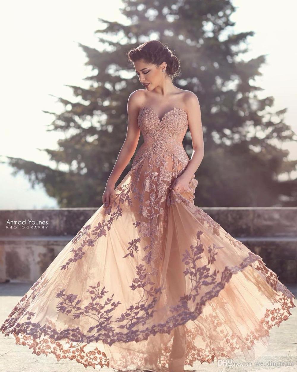 Venda quente Uma Linha de Rendas Longos Vestidos de Baile Querida Apliques Até O Chão de Tule Vestido De Baile Abaya Em Dubai Kaftan Islâmico Prom Vestido