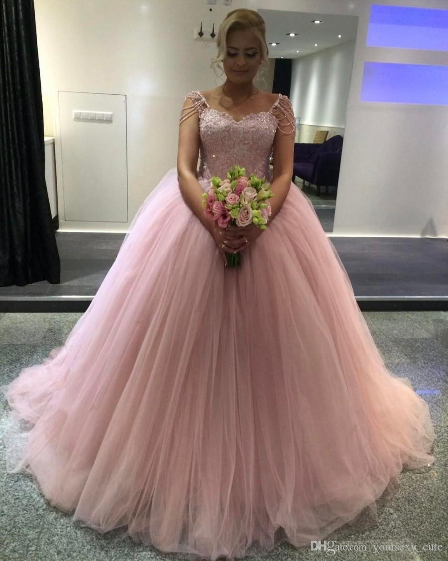 Blush Pink Ball Gown Quinceanera Dresses Sweetheart Beaded Sleeves Tulle Floor Length Plus Size Prom Dresses Sweet 16 Dresses