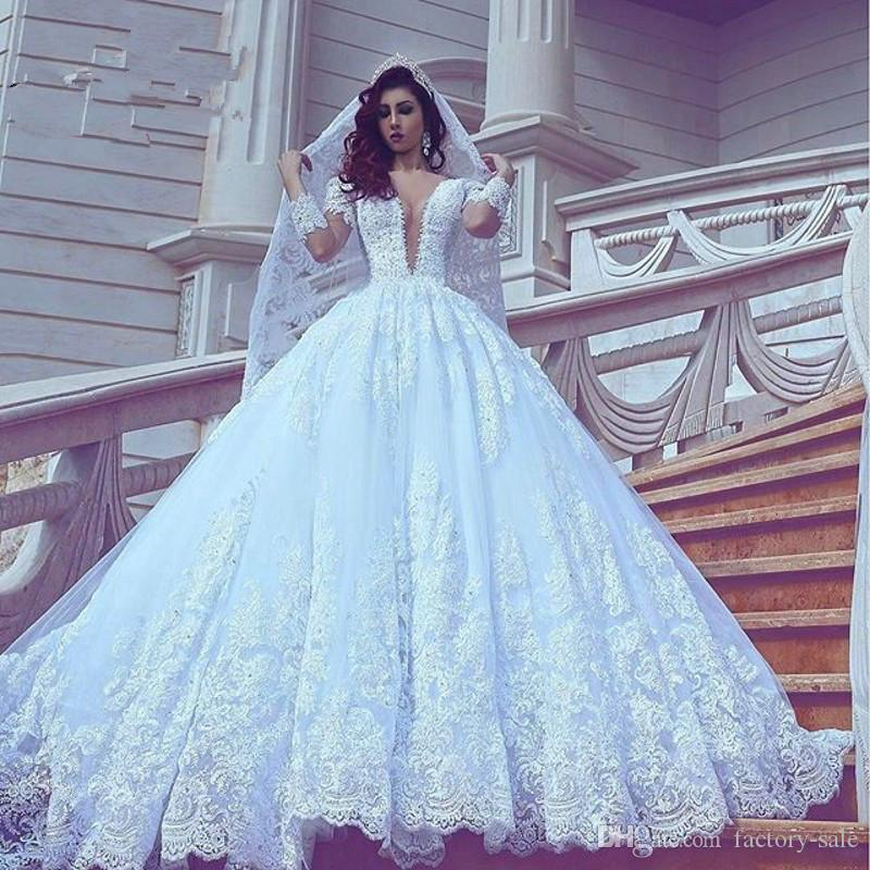 8f24479c5a79 2018 New Design Ball Gown Lace Wedding Dresses Deep Illusion V Neck Long  Sleeves Wedding Gowns Chapel Train Applique Bridal Gowns Custom One  Shoulder ...