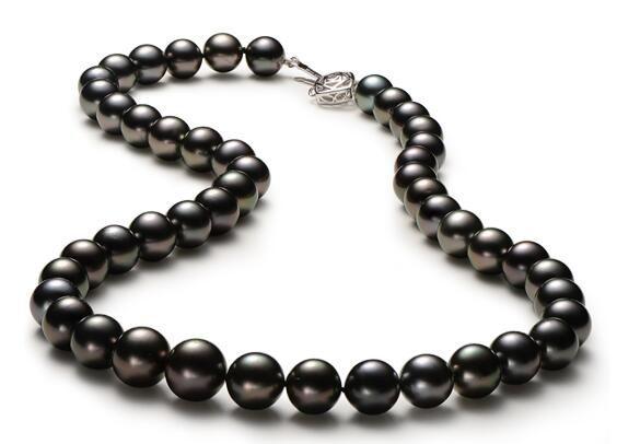 Collana da 11 mm rotonda nera Collana di perle d'acqua dolce
