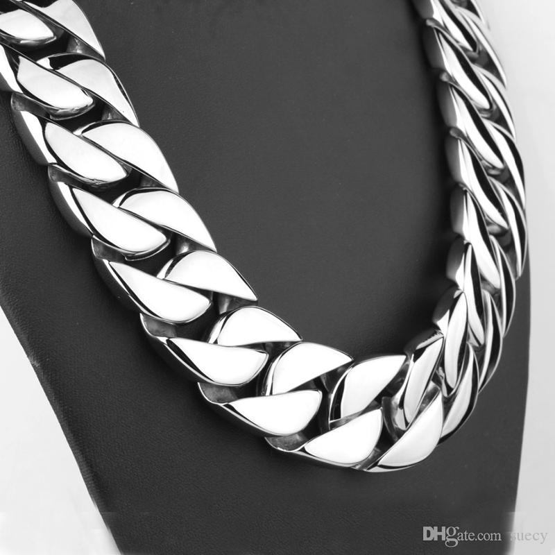 72CM 31mm Super Heavy Thick Silver Flat Round Curban Curb Chain Titanium steel Link necklace Mens Boys Chain 316L Stainless Steel Necklace