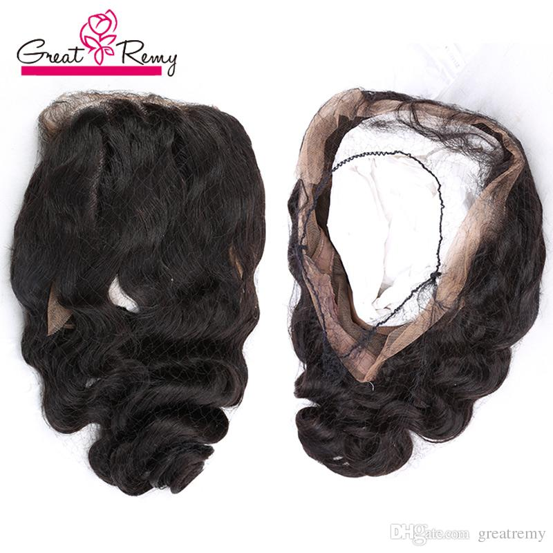 Hand Tied 360 Frontal 22*4*2inch Swiss Lace Brazilian Hair Greatremy Unprocessed Human Hair Loose Wave Full Lace Band Frontal with Baby Hair