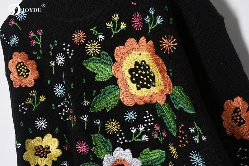 JOYDU Pist Kazak Nakış kadın Kazak 2017 Yeni Ünlü Flora Standı Yaka Moda Sonbahar Kış Yün Karışımları Örme